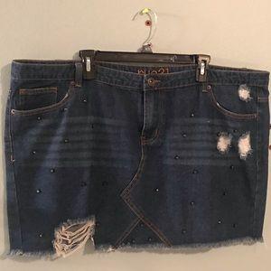 Distressed Jean Skirt
